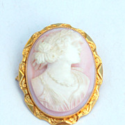 SOLD 1910-1920 Hallmarked 10K Yellow Gold Angel Skin Coral Cameo Pin and Pendant