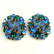 SALE Fabulous Vintage HUGE Green and Blue Rhinestone Earrings