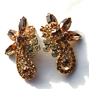 SALE Vintage JULIANA (DeLizza and Elster) Huge Amber and Pale Yellow Rhinestone Earrings