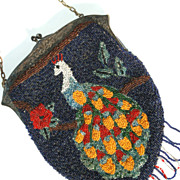 Early EPNS Heavy Beaded Peacock Purse, Super Ornate Floral Frame