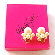 Signed WENDY GELL Faux Pearl and Watermelon Glass Huge Clip Earrings