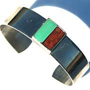 SALE Vintage Signed CELEBRITY Modernist Cuff Bracelet, Wood and Enameled Turquoise Metal