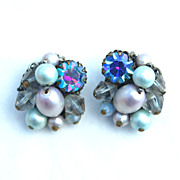 SALE Vintage Signed EUGENE Shades of Blue Rhinestone, Crystal, Pearl Clip Earrings