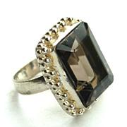 Vintage Hallmarked STERLING Silver Smoky Quartz Ring