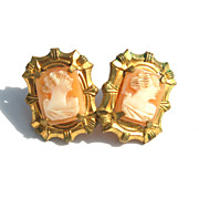 SALE Early Hand Carved Shell Cameo Screwback Earrings