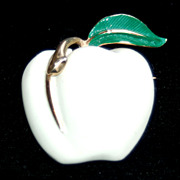SALE Vintage Signed PASTELLI White Enameled Apple Pin