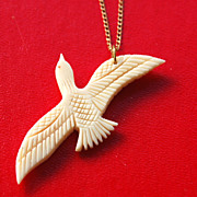 SALE Early Gold Filled Sea Gull Bird Carved Pendant Necklace and Chain