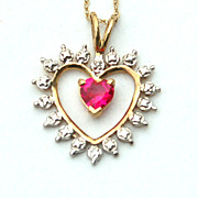SALE Vintage Hallmarked 10K Gold Necklace and Heart Pendant Pink Stone