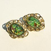SALE Vintage Cats Eye Glass Stone Clip Earrings