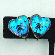 SALE Early Hallmarked STERLING Silver Butterfly Wing Heart Shaped Earrings