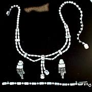 SALE Vintage Signed WEISS Clear Rhinestone PArure, Necklace Bracelet Clip Earrings