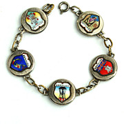 Vintage BERMUDA Souvenir Enameled Travel Shield Bracelet