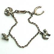 SALE C. 1930-1940 Early Sterling Silver Charm Bracelet With 4 Charms