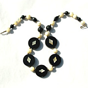SALE Ethnic Dyed Horn, Onyx, and Mother of Pearl Necklace, Inlaid