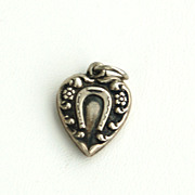Vintage Hallmarked STERLING Silver Puffy Heart Charm, Horse Shoe