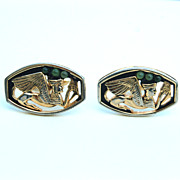 SALE Vintage Signed SWANK Egyptian Sphinx With Jade Colored Glass Mens Cuff Links