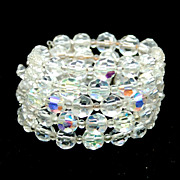 Vintage Five Strand Crystal Memory Wire Wrap Bracelet