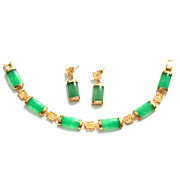 SALE Vintage Faux Jade and Gold Tone Chinese Character Demi, Bracelet Earrings