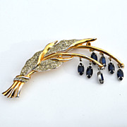 SALE Early Signed CORO Dangling Sapphire Blue Rhinestone Floral Pin