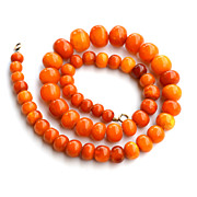 51g Vintage Natural Baltic Amber Egg Yolk Honey Cherry Graduated Necklace 12K GF