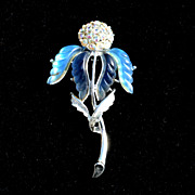 Large Size Vintage Blue Molded Glass Flower Pin With Rhinestones