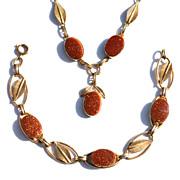SALE Vintage 12K Gold Fill Goldstone Necklace and Bracelet Demi
