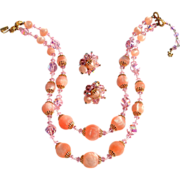 Vintage Signed VENDOME Perfect Pink Crystal and Glass Demi, Two Strand Necklace and Earrings