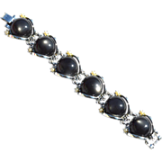 SALE Super Chunky Vintage Gray Moonglow Glass and Faux Pearl Bracelet