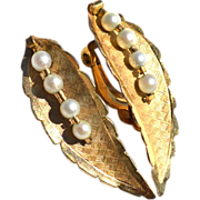 SALE Vintage 12K Gold Filled And Pearl Clip Earrings