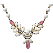 SALE Vintage Pink and White Rhinestone Necklace