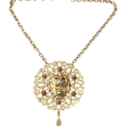 SALE Huge Oversized Roaring Lion Pendant Necklace With Art Glass Stones
