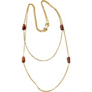 Vintage Signed GOLDETTE Double Strand Necklace With Rootbeer Art Glass Beads