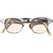 Vintage 1950's ARTCRAFT Aluminum Cat's Eye Glasses, Etched