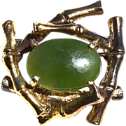 SALE Vintage Hallmarked STERLING SILVER and Jade Pin