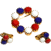 SALE Vintage PAtriotic Red White and Blue Rhinestone Demi, Pin Earrings