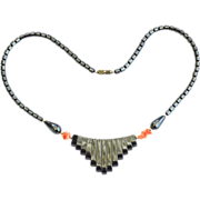 SOLD Vintage Genuine Hematite and Coral Stone Fringe Necklace
