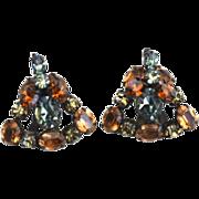SALE Vintage SCHREINER Rhinestone Clip Earrings