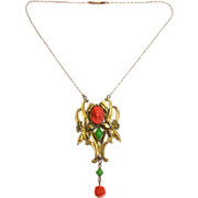SOLD Art Nouveau Cameo Necklace, Coral and Chrysoprase