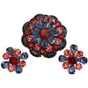 SALE Vintage BEAU JEWELS Red Pink Blue Rhinestone Demi, Pin Earrings