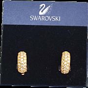 SALE 1990's Signed SWAROVSKI Crystal Earrings On Original Card