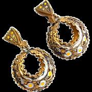 SALE Vintage Damascene Clip Earrings, Dangling, Enamel