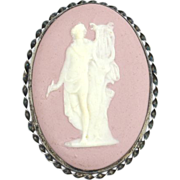 SALE HUGE Early LS Peterson Sterling Silver and Pink Jasperware Cameo Pin