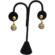 SALE Early Vintage Wedding Cake Glass Earrings