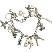 Early Vintage Hallmarked STERLING SILVER Loaded Charm Bracelet, Moveable Frog Turquoise Fish .