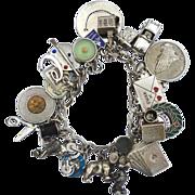 Vintage Hallmarked Loaded STERLING SILVER Charm Bracelet, Rare Charms! Thomas L Mott, 86 Grams