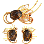 SALE Vintage Ornate Brown Topaz Colored Glass Stone Demi, Pin and Earrings