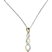 Hallmarked STERLING SILVER Gold Vermeil Pendant Necklace, Clear Stones
