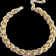 SALE Vintage Signed CROWN TRIFARI Gold Toned Necklace