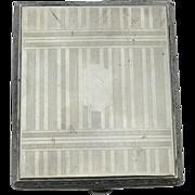 Art Deco Era Silver Toned Compact With Paper Money Clip