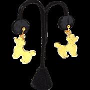 SALE Vintage Dangling Gold Tone Clip Earrings POODLE Dogs